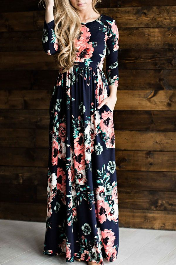 Dark Blue Floral Pattern Pocket Decor Casual A Line Maxi Dress