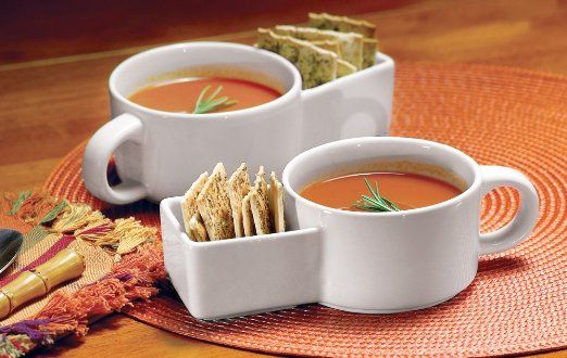 Amazon.com: Collections Etc - Set Of 2 Soup And Cracker Ceramic Mugs: Kitchen & Dining