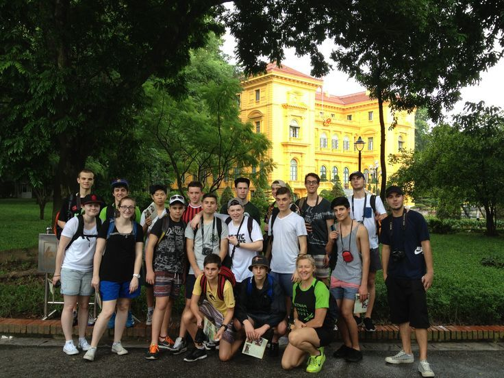 At the Ho Chi Minh Complex with the Presidential Palace in the background. #VietnamSchoolTours #Vietnam #Hanoi #CityTour