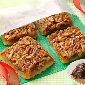 Favorite Pecan Pie Bars Recipe- Recipes  Send your favorite holiday travelers on their way with a package of these nutty little bars to eat when they get home. —Sylvia Ford, Kennett, Missouri