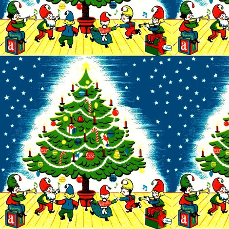 Merry Christmas gnomes elf elves dancing dance trees gifts presents stars candles baubles candy canes trumpets music vintage retro kitsch fabric by raveneve on Spoonflower - custom fabric