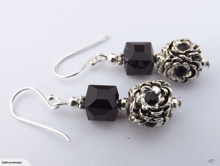 Black & Silver Square Bead Earrings on 925 Hooks | Trade Me