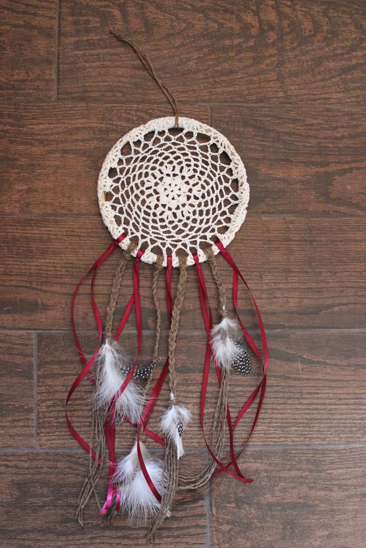 Braided Twine and Burgundy Ribbon Dreamcatcher  by uniqueextras on Etsy https://www.etsy.com/listing/221635511/braided-twine-and-burgundy-ribbon
