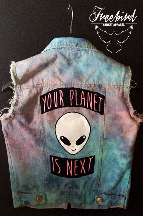 Alien Invasion Tie Dye Soft Grunge Pastel Denim Vest                                                                                                                                                                                 More