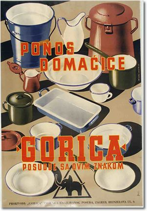 Poster for Gorica vessels from 1955. Authors: Zvonimir Faist and Dušan Mrvoš. Because of the relatively modest range and quality, the pots could be selected in various colours, and hence this poster was meant to draw attention by its colours, which affected the price of the printing as well. Source: Zvonimir Faist, The dictates of the time, posters from the late 1930s to 1960s, exhibition catalog, Zagreb City Museum