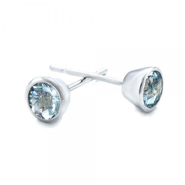 Aquamarine Bezel Set Stud Earrings | Joseph Jewelry | Bellevue | Seattle | Online | Design Your Own Earrings