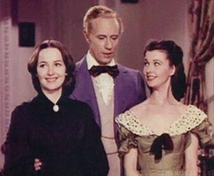 Melanie Wilks (Olivia de Havilland), Ashely Wilks (Leslie Howard), & Scarlett O'Hara (Vivien Leigh) in Gone With the Wind
