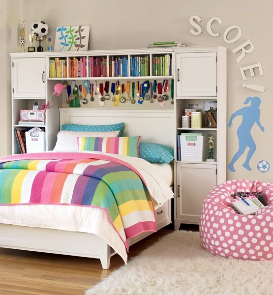 Rainbow teen tween kids bedroom trophy storage organize bean bag stripes - Teenage bedroom designs for small spaces decoration ...