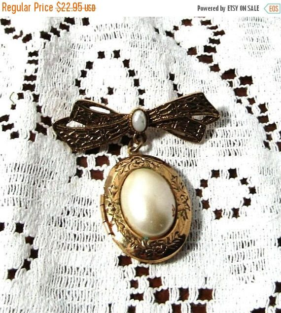 New Year Sale - Bow Brooch with Dangling Locket, Faux Pearl Cabochons,Vintage Picture, Antiqued Gold Tone