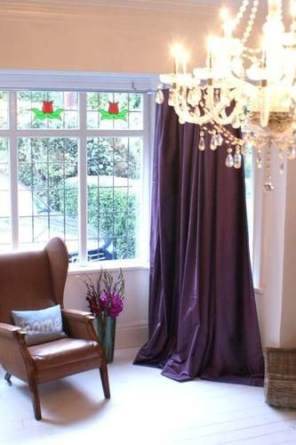 £235 - Purple aubergine velvet curtains