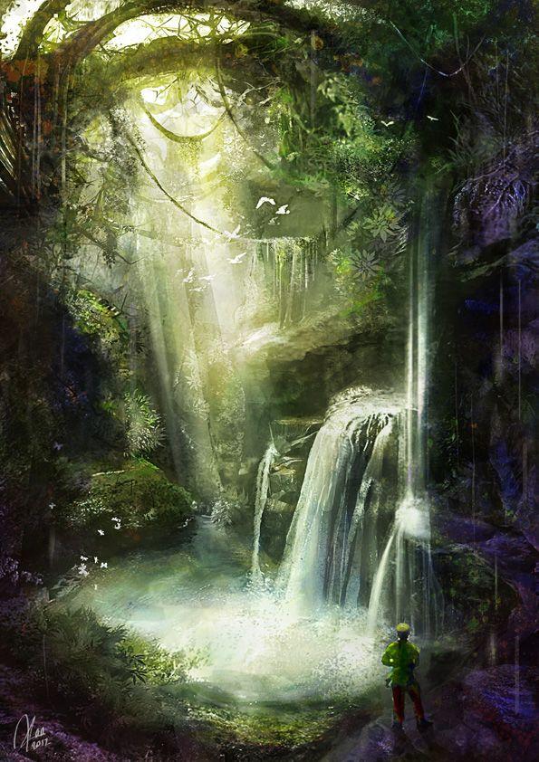 Matte concept jungle cave by