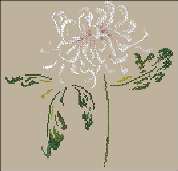 """Сачать схему вышивки """"Chrysanthemum""""  Формат схемы: .xsd  Размер: 126x125  Производитель: DMC  Артикул: XC1132b  Серия:   Количество цветов в : 13"""