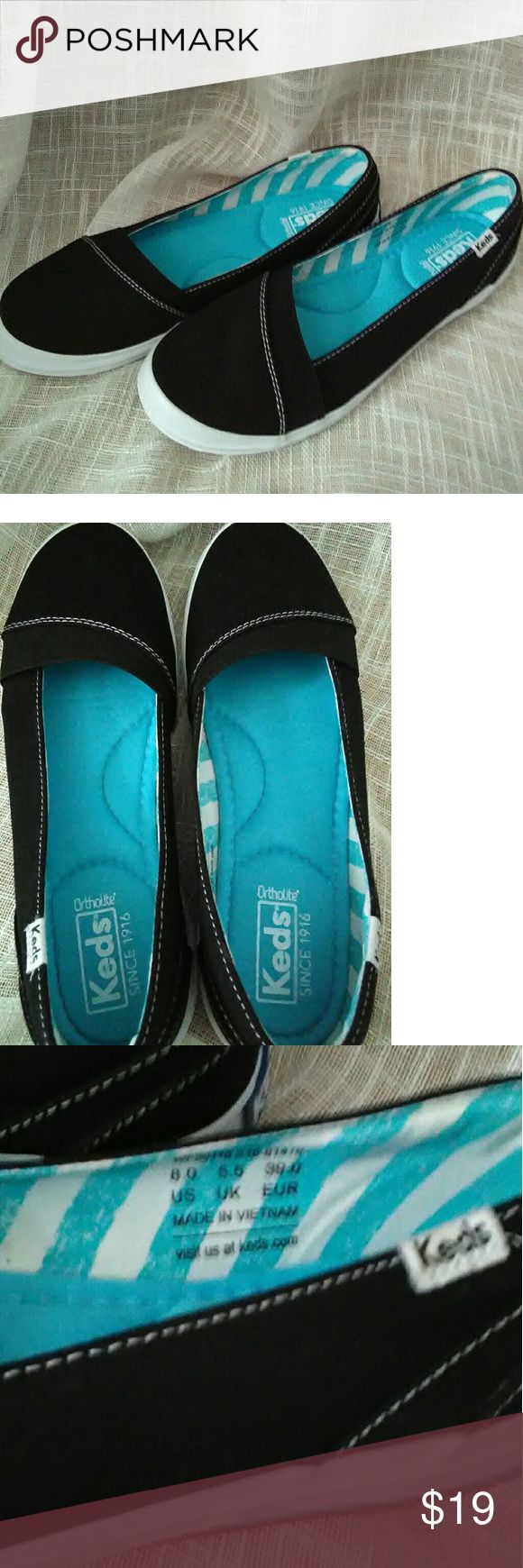 NWOT  Keds Black Slip Ons (8) This is a new without tags pair of Keds slip ons in black Size 8. There is no wear,    or marks just to small for me.  They have soft cushion inside to make them extra comfy.   Very cute!   Thank you for stopping by and looking! Keds Shoes Flats & Loafers