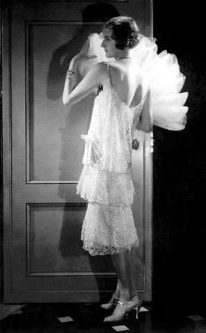 Model Jule Andre in Lace Chanel Dress