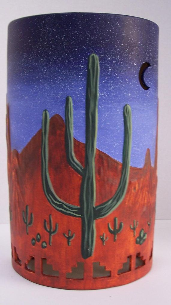 Southwestern Wall Sconce, Sequoia Cactus, Red Mountains, Dark Blue Sky, Indoor Wall Sconce,