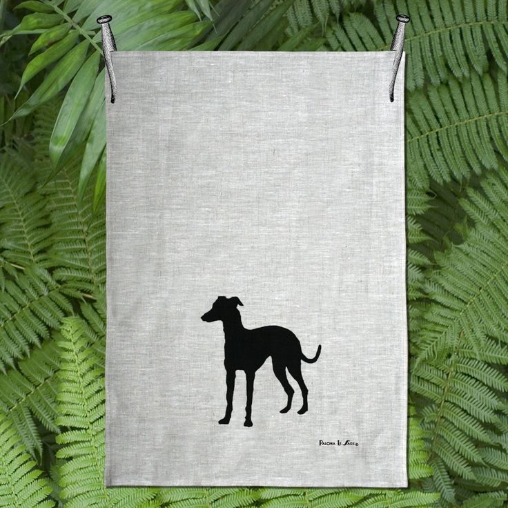 Italian Grey Hound / Whippet Silhouette Hand Screen Printed Pure Linen Tea Towel Free Shipping Australia Wide by animalsandbirds on Etsy
