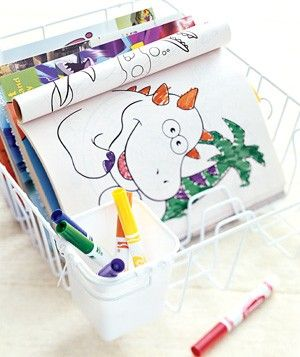 Use a Dish-Drying Rack to organize coloring books and art supplies