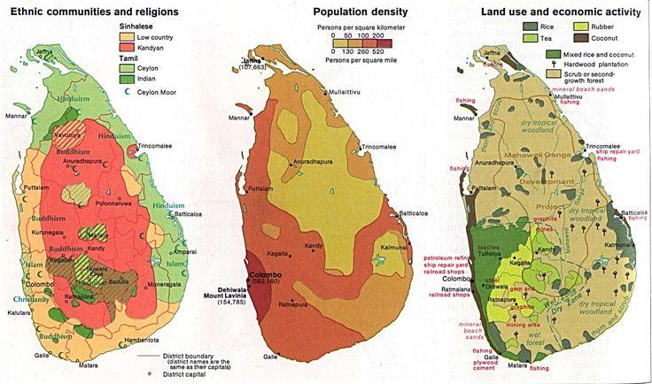 Sri Lanka - Ethnic communities and religions ; Population density ; Land use and economic activity