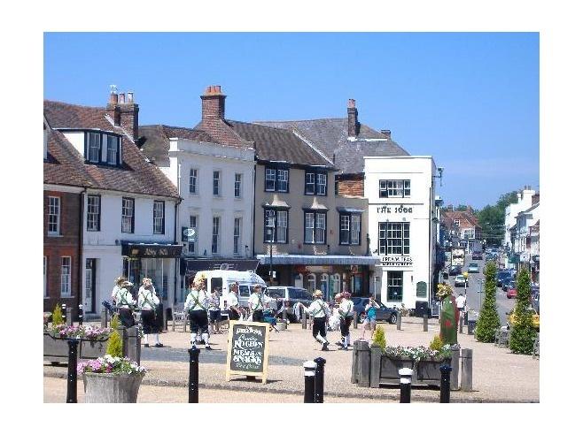 Town of Battle, East Sussex, England. Street scene in front of Battle Abbey