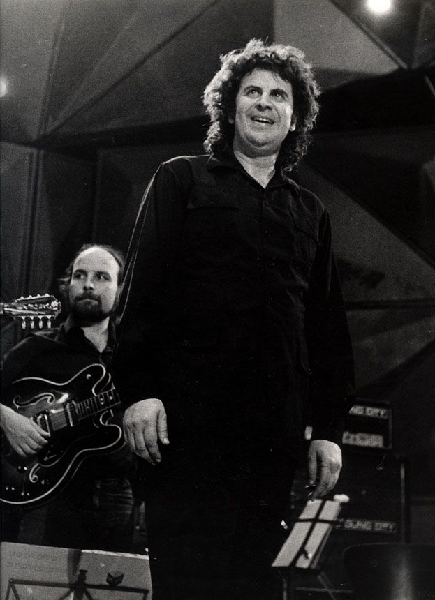 Mikis Theodorakis at a concert in Caesarea, Israel, in the 1970s.