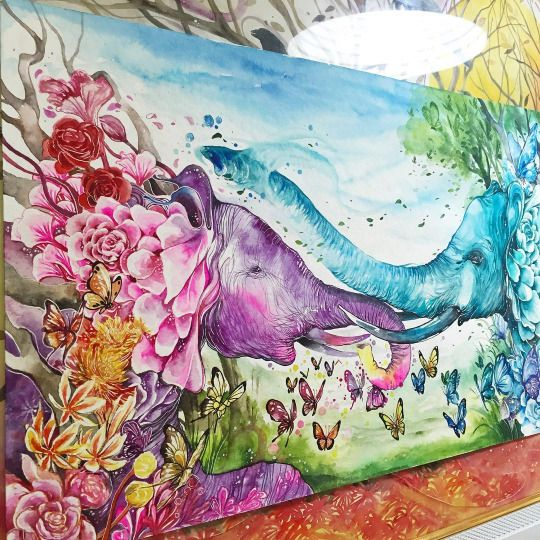 """Indonesia-based artist and illustrator Luqman Reza a.k.a Jongie paints surreal watercolor portraits of animals set in a fantasy landscape. Each image is permeated with vibrant colors, bursts of flowers and energy, and the artist's signature touch dubbed the """"magic effect"""" which turns the reference artwork into a unrestrained journey of his imagination."""