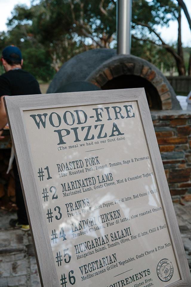 Woodfired pizza wedding signage
