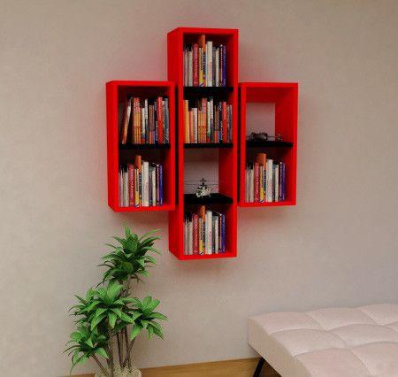 EN MODERN RAFLAR EN UCUZ FİYATA!!! Rafline Solid Kitaplık Kırmızı ,