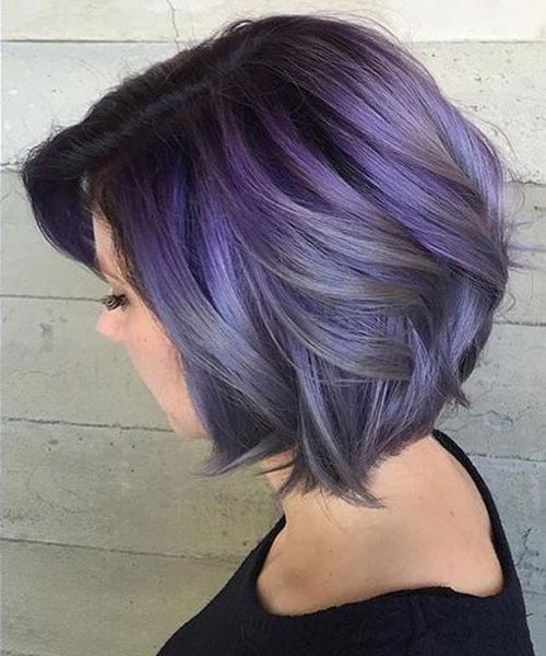 Gorgeous Smokey Lavender Chin Length Hairstyles For Women Hair And
