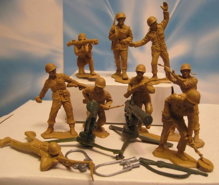 MARX BATTLEGROUND PLAYSET 2 MACHINE GUN 9 MUSTARD TAN GIs PLASTIC TOY SOLDIER #MARX