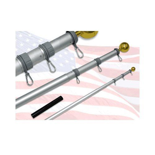 20ft Telescoping Flagpole with sewn nylon Valley Forge Flag by US Flag Store. $99.00. Includes a 3ft x 5ft Sewn Nylon US Flag (By Valley Forge). Rust-Proof, 16 Gauge Aluminum 22 Ft Flagpole. Low Cost Shipping Available!. Includes Valley Forge American Flag, and Plastic Ground Sleeve. No Rope Needed. 1 Year Limited Warranty. Can Be Installed Without Expert Assistance.. This telescoping flagpole has a total length of 22ft, approx 1.5 ft must be cemented in the gr...