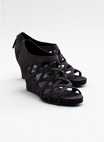 Cage Wedge Sandal in Italian Buffed Leather