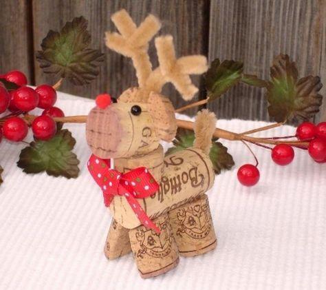 Rentier aus Sektkorken selber herstellen-günstige Weihnachtsdeko für den Tisch
