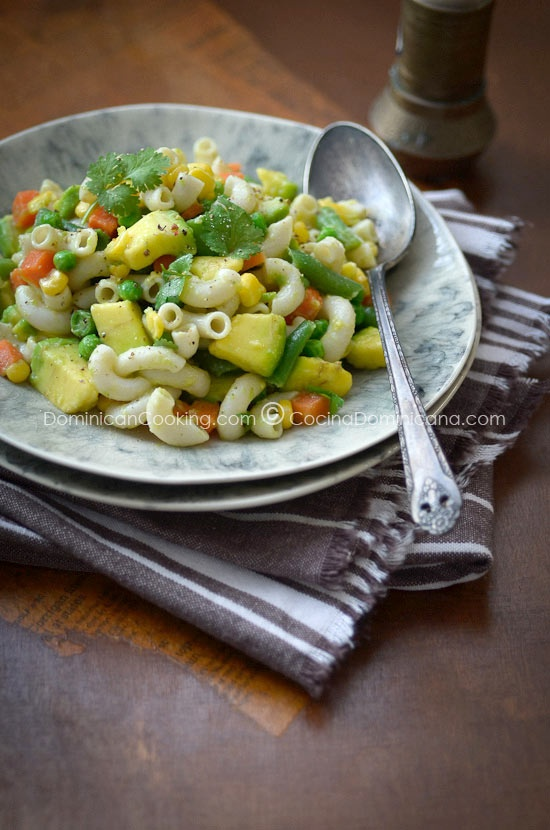 Pasta and Avocado Salad. This could use a little zing (heat) but sounds like a yummy, easy meal for a hot day.