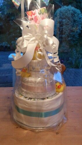 Nappy cake With wrapping. Baby shower present for boy/girl