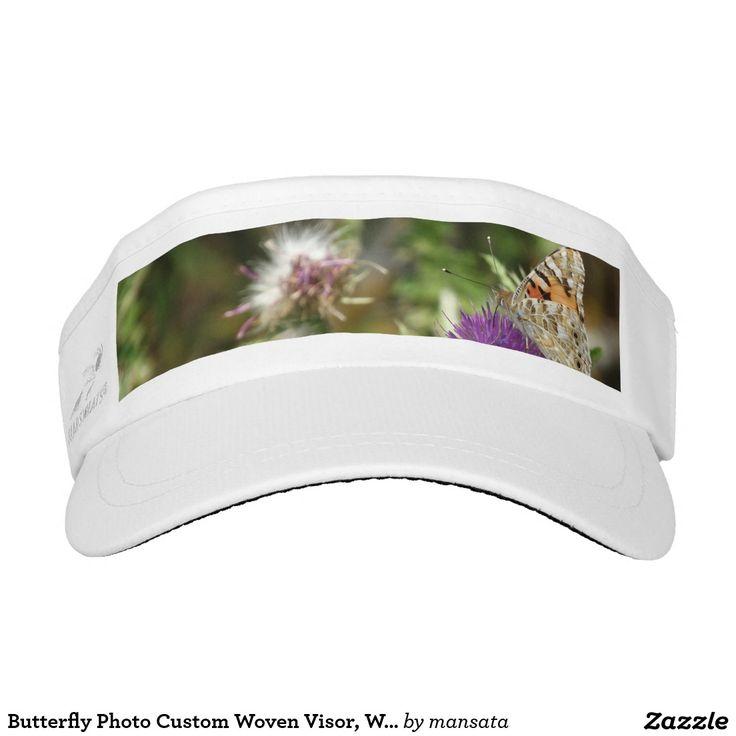 Butterfly Photo Custom Woven Visor, White