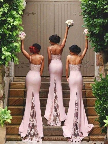 Pink Trumpet/Mermaid Sweetheart Spaghetti Straps with Appliques Lace Sweep Train Prom Dress