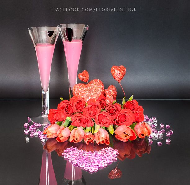 Valentine's Day Floral Arrangement with a Diamond Heart and a Pink Elixir of Love