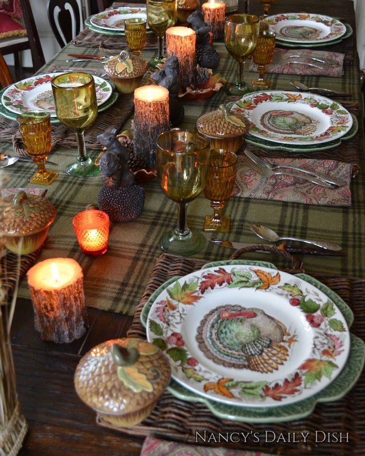 Thanksgiving Turkey Dinnerware Set 8 Brown Transferware Plates & Platt