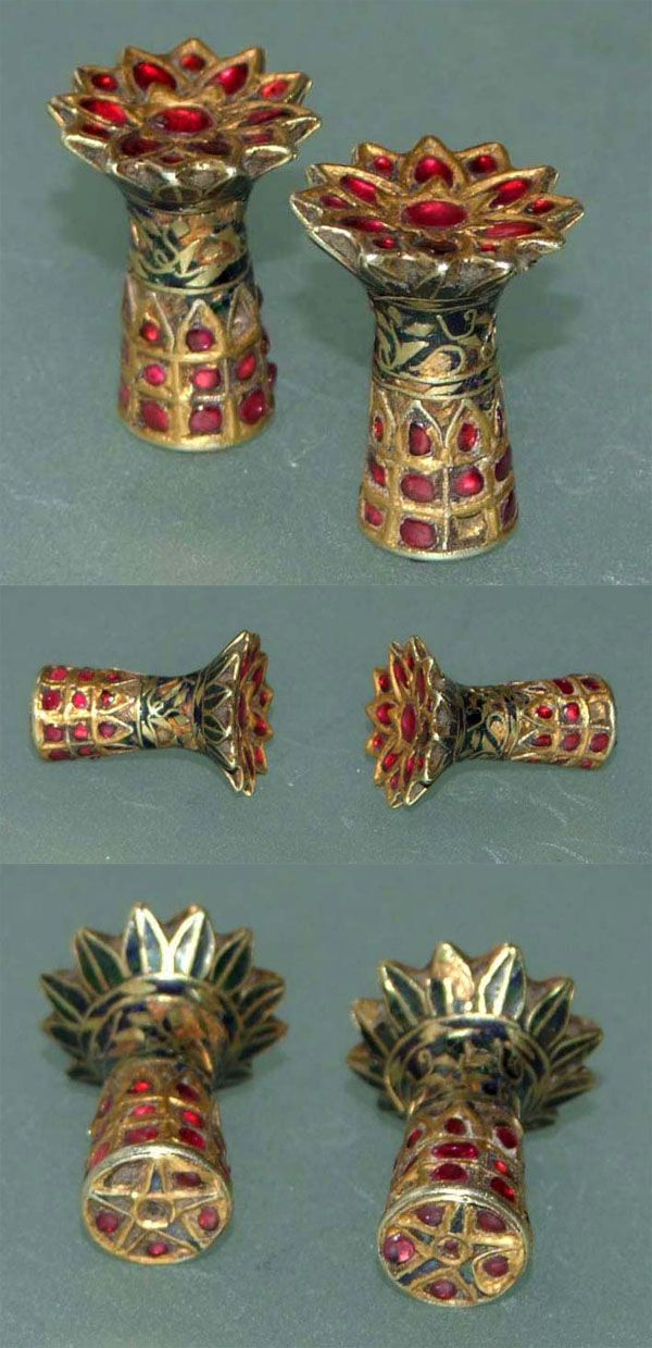 India | Ear ornaments ~ 'thuria' ~ gold, rubies, enamel and lac | 19th century. Assam - loved & pinned by www.omved.com
