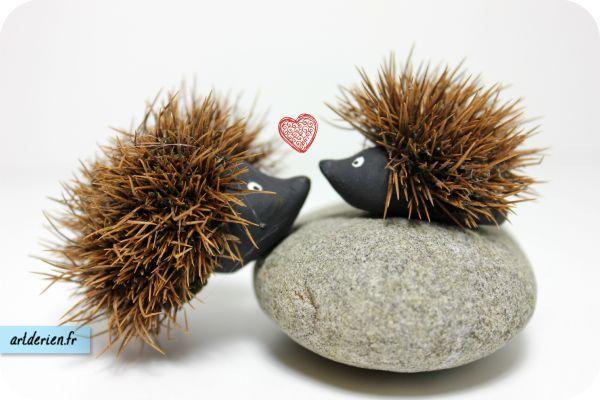 Pas à pas: mignons petits hérissons fait d'une bogue de châtaigne (en Français) Step-by-step: cute little hedgehog from chestnut shell (in French)