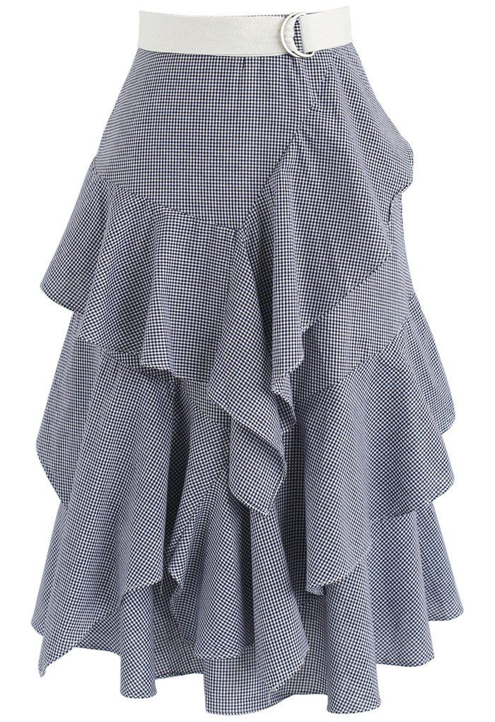 Passion Tiered Ruffle Hem Skirt in Navy Gingham - New Arrivals - Retro, Indie and Unique Fashion