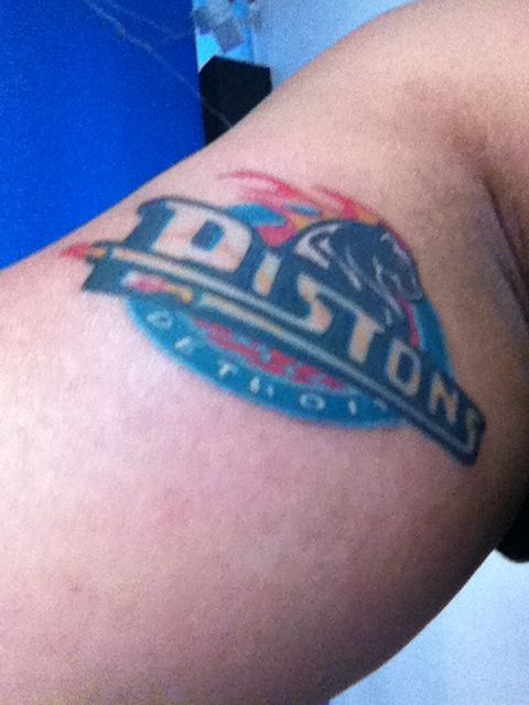 Detroit Pistons Tattoo by Tommy Chong at Blue Tattoo Cafe