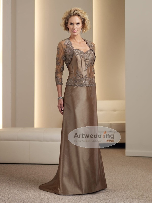 Embroidered Taffeta Gown Mother of the Bride