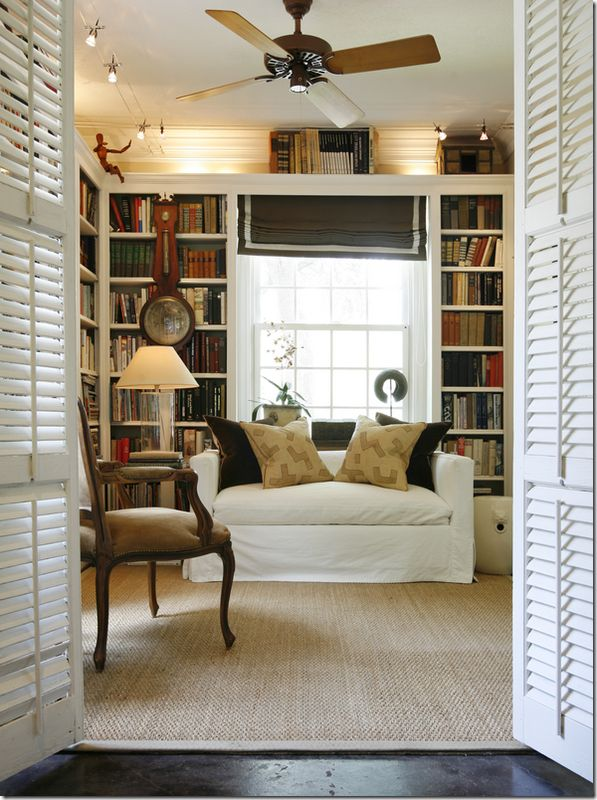Small library by Ashley Goforth via Cote de TexasDecor, Bookshelves, Home Libraries, Built In, Living Room, Bookcas, Book Shelves, Reading Nooks, House