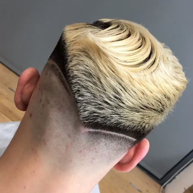 Cool Haircuts for Men, regular haircut back, Hair Design, Skin Fade Haircut with Line, Shaved Line, Hipster Hairstyle V Design