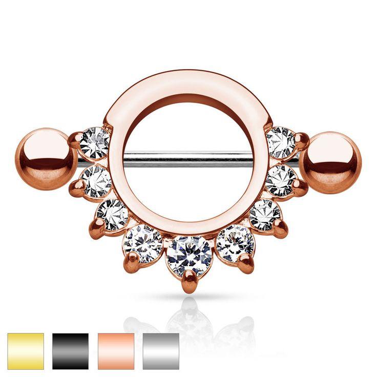 PAIR Nipple shield Clear CZ gem 14G half circle body jewelry piercing ring #BodyJewelry