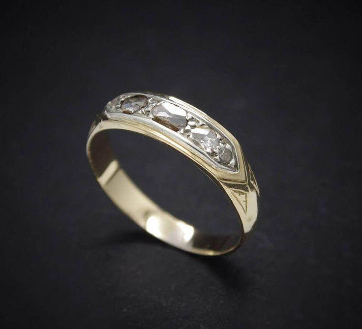 Truly vintage antique ring victorian circa 1890 engraved with diamonds pink solid 18k gold solitaire wedding Engagement de MartaGArcos en Etsy