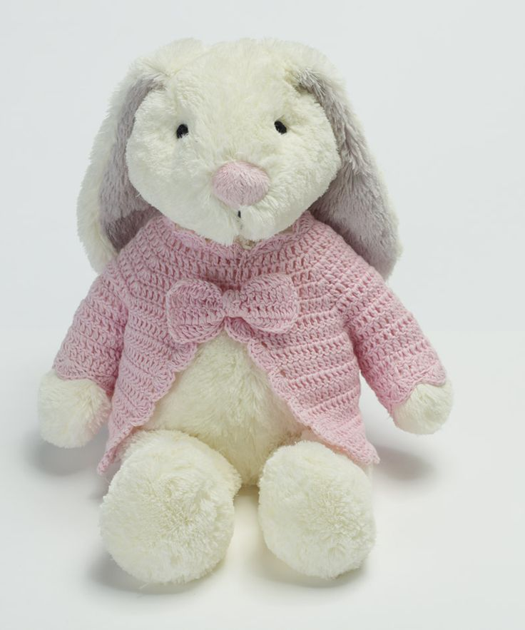 Large girl rabbit with knitted cardigan- 2865 such a gorgeous baby girl gift