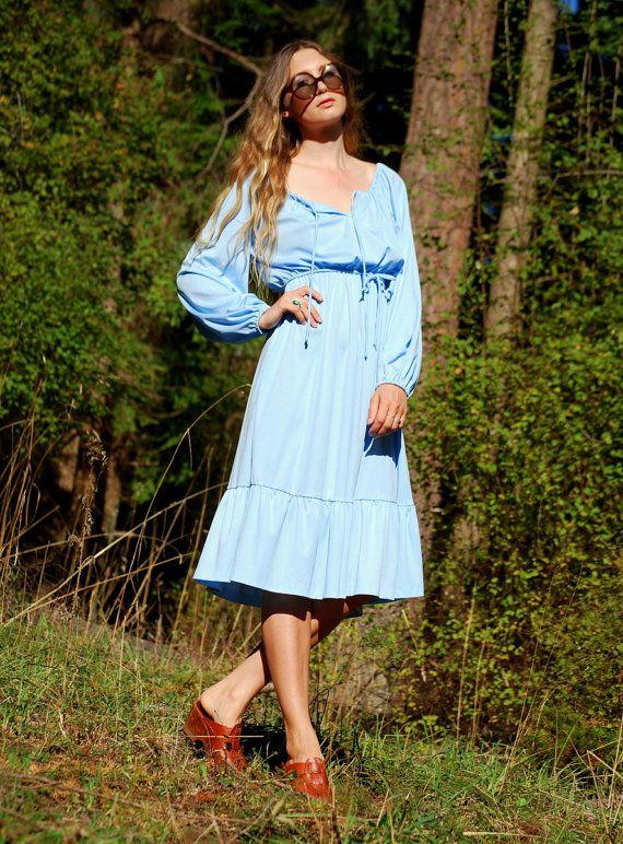 Baby Blue 1970's Dress, 70s Boho Prairie Dress, Long Balloon Sleeve Tie Front Hippie Dress, 70's Disco Party Dress, Ruffle Midi Dress Large by SurfandtheCity