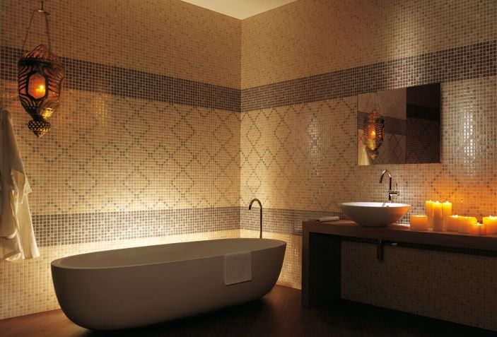 #romantic, #warm, #exotic #bathroom design #tile perfect #lighting #interior design